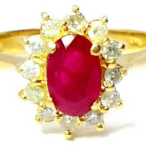 Lovely Solid 14k Gold Diamond & Ruby Size 6.5 Ring